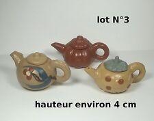 lot de 3 théières miniature en terre cuite ,collector,décoration vitrine lot 3