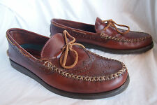 Sebago Campside driving moccasins mens sz 9 brogue wingtip brown leather shoes