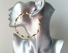 SEXY! BIG! 8cm gold tone chunky & oversized CHUNKY TWISTED hoop earrings, NEW IN