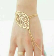 #3024 Simple Gold Silver Plated Hollow Chain Slave Bracelet Leaf Charm Bracele