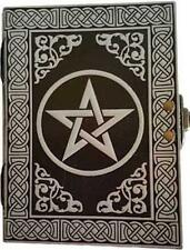 "5""x7"" Silvery Pentagram Latch Lock Book of Shadows, Journal, Diary!"