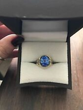 VERY OLD 10K YELLOW AND WHITE GOLD RING WITH BLUE STONE