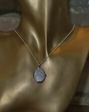 Platinum Plated Sterling Silver Necklace & Oval Locket Set With Created Diamonds