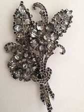 Antique Art Deco Signed Mazer 1920's Fabulous Crystal Flowers Brooch!