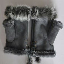 Brand New Good Gift For Lovers Rabbit Fur leather Wrist Fingerless Gloves