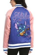 Disney Lilo & Stitch Aloha Blue & Pink Bomber Jacket Size Medium New With Tags!