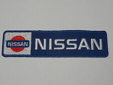 MOTORSPORTS RACING CAR SEW ON / IRON ON PATCH:- NISSAN (a) BLUE & SILVER STRIPE