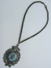 Vintage Silver ORDER OF ISABELLA Enamel Chunky Crown Medallion Catholic Necklace
