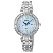Seiko Solar SUT181 Ladies Mother of Pearl 20 Diamond Bezel Stainless 30mm Watch