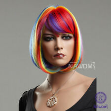 Female Colorful Hot BOB With Bangs Rainbow Wigs Cosplay Party Short Full Wig