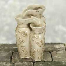Ivory Patina Triple Jug Water Fountain Butterflies Flowers Tabletop Fountain
