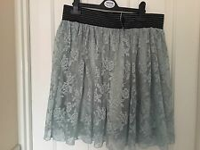Gorgeous Aqua/Teal Lace Effect Atmosphere Skirt With Detailed Belt Band BNWT