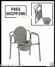 Portable Commode Folding Bedside Handicap Adult Toilet Potty Chair Elevated Seat