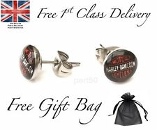 Harley Style Stainless Steel Stud Earrings UK Dad Gift Motor Cycles Bikes David