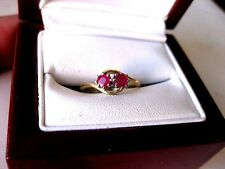 ANTIQUE VICTORIAN 18Ct  YELLOW GOLD RIND with NATURAL RUBIES,19 c