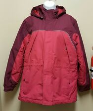 Lands End LARGE Pink Coat Ski Jacket 3 in 1 Hood Winter Parka Down Feathers Vest