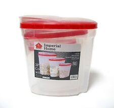 Plastic 3 Piece Cereal Dispenser Set - Dry Food Storage Containers (Red Lids)