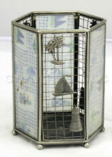 Ocean Seaside Beach Sailboat Palm Trees Blue Lighthouse Metal Candle Holder Cage