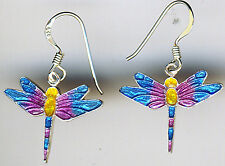 "925 Sterling Silver Multi Coloured Enamel Dragonfly Earrings Reversible (1.1/5"")"