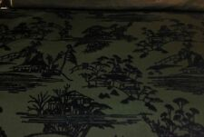 """DONGHIA SANSUI TOYO INK CHINESE TOILE CUT VELVET EXCLUSIVE FABRIC 3 YARDS 51""""W"""