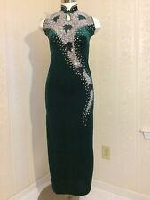 Glamorous Green Velvet Asian Maxi Dress Silver Leaf Accents Beads Sequins Small