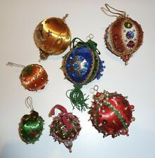 7 VTG 1970'S HAND-MADE BEADS SEQUINS SATIN STYROFOAM CHRISTMAS TREE ORNAMENTS