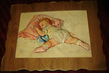 MAUD TOUSEY FANGEL EMBOSSED RAISED 3D WOOD FRAMED BABY PRINT