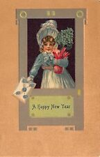 New Year Postcard Little Girl Carrying Potted Plant of Four Leaf Clovers~108985