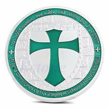 Knights Templar Silver Plated Europe Green Cross Token Souvenir Coin Collections