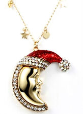 KIRKS FOLLY CANDY CANE NEW MOON PENDANT NECKLACE - Santa Hat