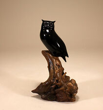 HORNED OWL SCULPTURE New Direct from JOHN PERRY Ebonite 9in tall Statue Figurine