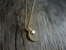 Small Moon Star 24k Gold Plated Sterling Silver Pendant Necklace