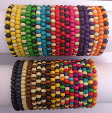 Ladies / Womens Job Lot X 40 Wooden Tribal / Surfer Elastic Bead Bracelets - NEW