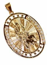 San Lazaro - Babalu Medal Necklace 18K Gold Plated Medalla With Chain-Con Cadena
