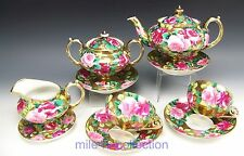 LOVELY NIPPON HAND PAINTED ROSES GOLD TEA POT CREAMER SUGAR CUPS & SAUCERS SET