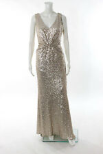 Badgley Mischka Rose Gold Sequin Twist It Out Gown Size 12 New $695 10196926