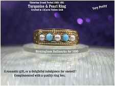 Victorian Antique c1880 15ct Yellow Gold Turquoise Pearl Ladies Dress Ring UK K