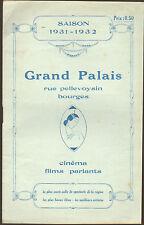 18 BOURGES BROCHURE GRAND PALAIS CINEMA SAISON 1931 / 1932
