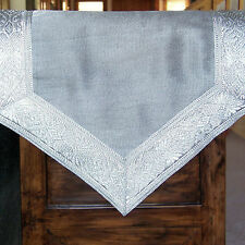 SILVER TABLE RUNNER BROCADE BORDER 72X13 Inches, Brand New, Many Available