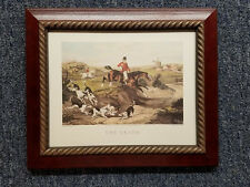 English Fox Hunt Scene The Death Cherry Stain Wood Gold Rope Frame