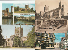 5 Postcards Tewkesbury Abbey, bell hotel millbank king johns bridge