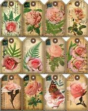 12 POSTCARD ROSE - FLOWER VINTAGE 155 lb SCRAPBOOK PAPER CRAFT TAGS LAMINATED