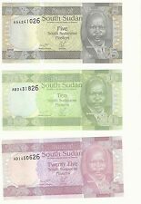SOUTH SUDAN RARE PIASTER ERROR SET UNC BANKNOTES Identical Serial-5-10-25p