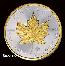 2016 Canadian Silver Maple Leaf Coin .999 Fine 24K Gold Gilded, BU 1 Ounce  FS