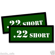 """22 SHORT Ammo Can 2 Labels .22 Amunitions 3""""x1.15"""" stickers decals GREEN 2pack"""