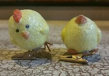 """PAIR OF YELLOW 2"""" CHICK FIGURINES COUNTRY FOLK ART STYLE ON CLIPS"""