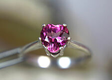 TOPAZ - Smokin' Hot Pink Heart-shaped .925 Sterling Ring 1.63ct Free Sizing!