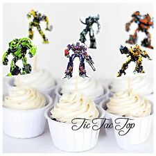 12 x Transformers CUPCAKE TOPPER Party Food Pick Cars Robot Bumble Bee