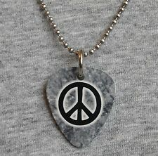Metal Guitar Pick Necklace - PEACE - symbol sign love hippie gray 70's pendant