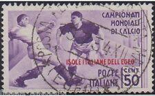 Isole italiale EGEO 1934 mondiali di calcio 50 cent. usato originale S.78 -F416